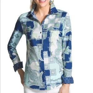 Chico's Paisley Pop Giana button down blouse
